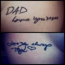 handwriting tattoos mom and dad memorial tattoos we love mom