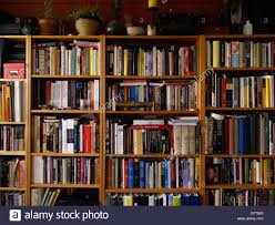 entire wall covered with sagging bookshelves and bursting with