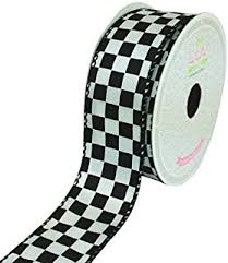 black and white wired ribbon black and white check ribbon 2 5 wide x 10 yards