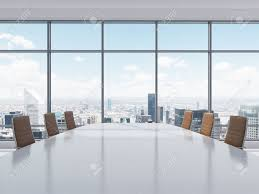 Conference Room Chairs Leather Panoramic Conference Room In Modern Office In New York City