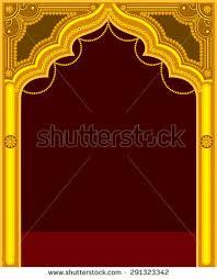 golden temple door frame stock vector 291323342