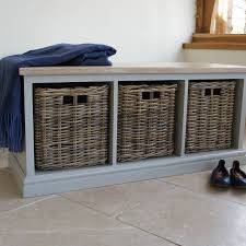 storage bench with limed oak top and wicker baskets by chatsworth