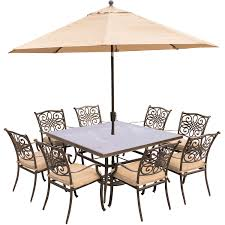 Cheap Patio Dining Set With Umbrella by Traditions 9 Piece Dining Set In Tan With 60 In Square Glass Top