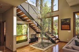 Lights Inside House Tree Inside House Staircase Contemporary With Baseboards Nickel