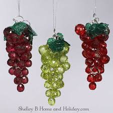 beaded grape ornaments set 3 shelley b home and holiday