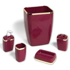 Bathroom Collections Sets 5 Piece Bath Bathroom Accessory Set Wastebasket Soap Dish Burgundy