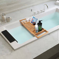 Bathtub Wine Natural Bamboo Bathtub Caddy With Extendable Sides Book Tablet