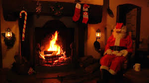 crackling fireplace scene with santa and relaxing christmas music