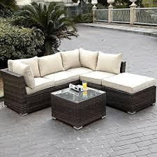 giantex 4pc outdoor wicker sectional sofa set