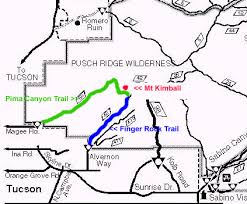 mt lemmon hiking trails map mount kimball via finger rock hiking arizona hikearizona com