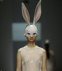 Amazon Lace Covered Bunny Ears Celebrity Style Models Demure Dresses Walk Runway Wonderland Inspired
