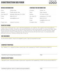 bid estimate template construction bid sheet bid form bid proposal template for
