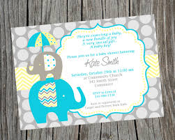 turquoise and yellow elephant baby shower invitation