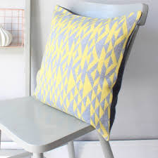 grey and yellow u0027pelt u0027 knitted cushion by gabrielle vary knitwear