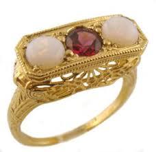 14k yellow gold art deco style filigree opal u0026 rhodolite garnet ring