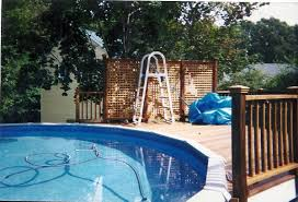 extraordinary above ground pool privacy decks with a frame above