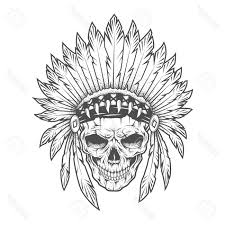 skull indian skull with feathers royalty