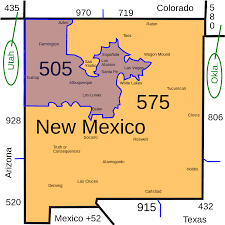 New Mexico State Map by List Of New Mexico Area Codes Wikipedia