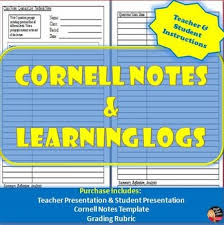 cornell notes u0026 learning logs teacher and student instructions