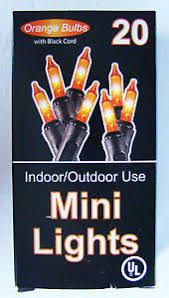20 mini lights orange bulbs with black cord new