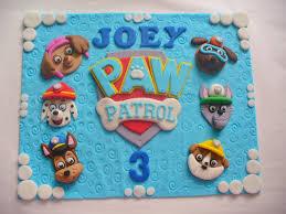 paw patrol personalized ediible fondant cake topper plaque