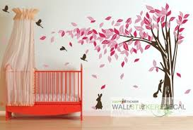 Cheap Wall Decals For Nursery Large Tree With Bird Rabbit Vinyl Wall Sticker Home Decor