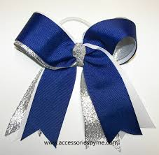 white and blue bows blue cheer bow royal blue white silver bow softball