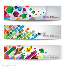 3 colorful creative website banner background design template