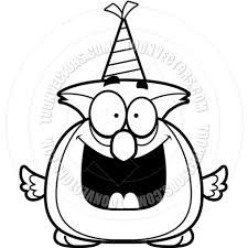 cartoon little owl birthday party black and white line art by