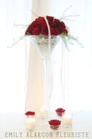 centre de table verre à martini roses red naomi et dentelle www