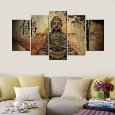 Buddha Statues Home Decor 5piece Modern Home Decorative Painting Buddha Statue Canvas Hd