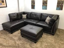studded leather sectional sofa 0 in stock n756l 250 down light black vinyl studded sectional