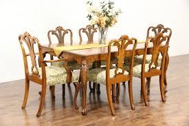dining room kitchen harp gallery antique furniture dining set table 2 leaves 6 chairs 1940 s vintage carved olive ash