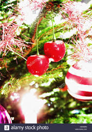 two cherry ornaments hanging on tree stock photo