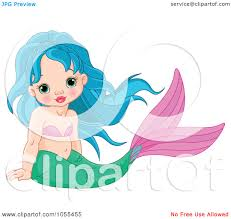 royalty free vector clip art illustration of a cute blue haired