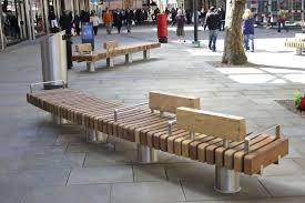 Outdoor Stainless Steel Furniture Public Bench Contemporary Wooden Stainless Steel Canal