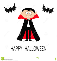 Cute Halloween Bats by Count Dracula Wearing Black And Red Cape Cute Cartoon Vampire