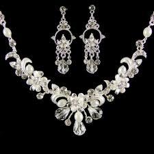 pearl crystal wedding necklace images Veronika pearl crystal wedding jewellery set silver white jpg