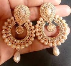 jumka earrings gold plated pearl setting indian 5 cm indian jhumka