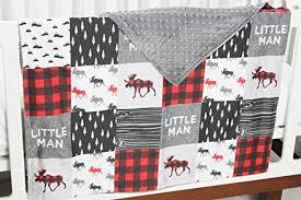 Plaid Crib Bedding Buffalo Plaid Moose 4 Pc Crib Bedding Set Patchwork Blanket
