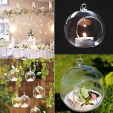8 10 12cm open clear glass bauble ornaments hanging flower candles