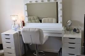 Nifty Mirror by White Wooden Makeup Table With Drawers And Mirror Completed By