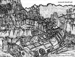 disney coloring page features the big thunder mountain railroad