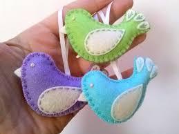 felt easter ornaments pastel color birds set of 3 wool