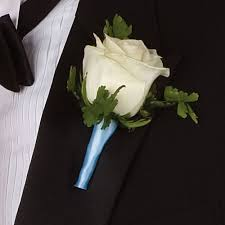 white and blue ribbon white with powder blue ribbon boutonniere flowers by lili in