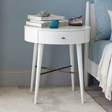 heston mid century white nightstand