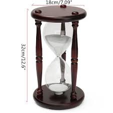 Hourglass Home Decor 60 Minutes Wood White Sand Glass Hourglass Timer Clock Home Office