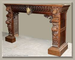 antique french renaissance carved fireplace mantel surround