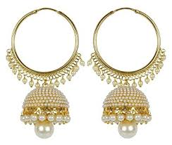 jhumka earrings meenaz traditional ethnic gold plated pearl jhumka earrings for