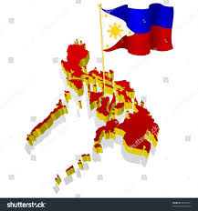 The National Map Threedimensional Image Map Philippines National Flag Stock Vector